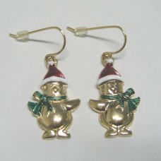 Gold Plated Christmas Snowman Earrings