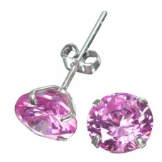 Solid Sterling Silver 8mm Brilliant Pink CZ Earring