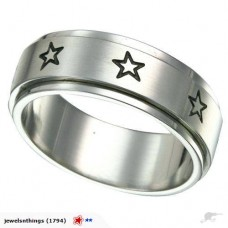 Steel Spinner Ring Star Design