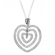 "5.20 CTW CZ Sterling Silver Heart 18"" Necklace"